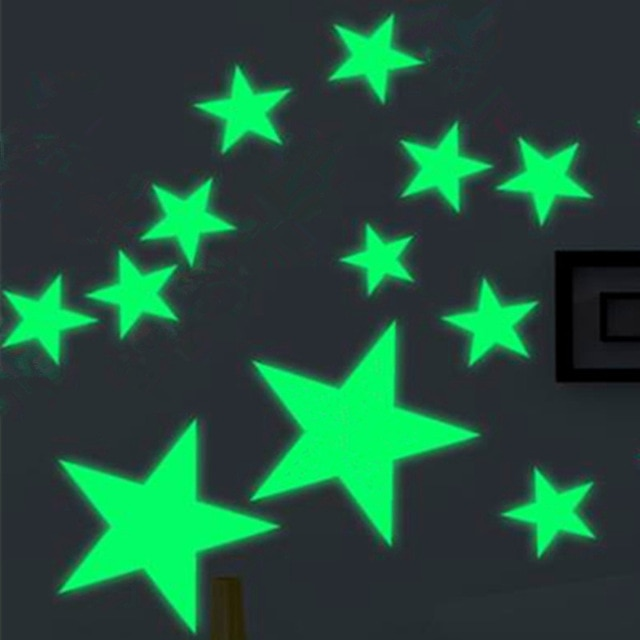 3D Star and Moon Wall Stickers Energy Storage Fluorescent Glow In The Dark Luminous For Kids Bedroom Ceiling Home Decor Decal