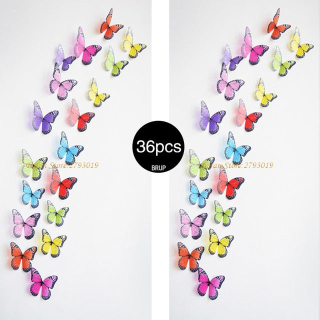 36pcs 3D Crystal Butterfly Wall Stickers Creative Butterflies with Diamond Home Decor Kids Room Decoration Art Wall Decals