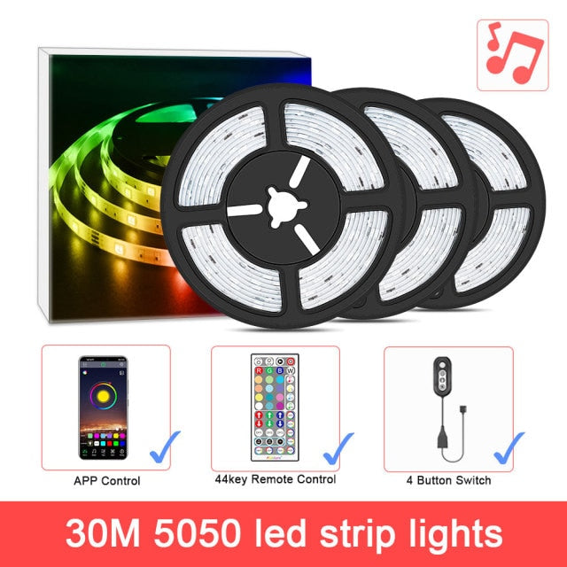 ColorRGB, LED Light Strip, Music Synchronized  Color Changing  RGB5050 ,Phone App Remote Control , LED Light Rope 6M 12M 15M
