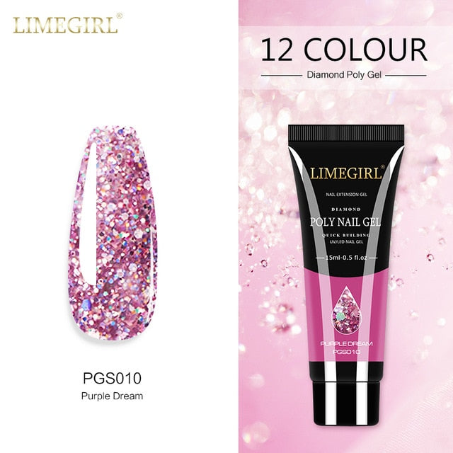 Limegirl 15ml Poly Nail Gel Glitter Builder Gel All For Manicure Nail Art Design Luminous Gel Nail Extension Nail Gel Gor Nails
