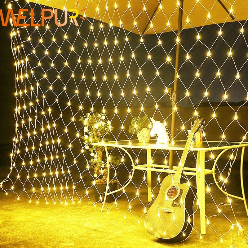 Net LED String Lights 8Modes 220V 1.5x1.5m 3X2M Festival Christmas Decoration New Year Wedding Party Waterproof