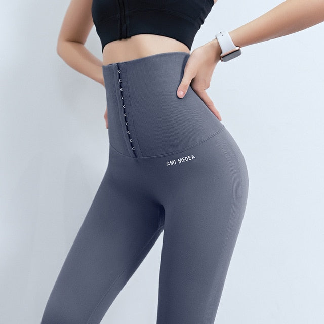 Fitness women corset hip lift postpartum high waist tights yoga pants Waisted Workout leggings Women Gym Running Training Tights