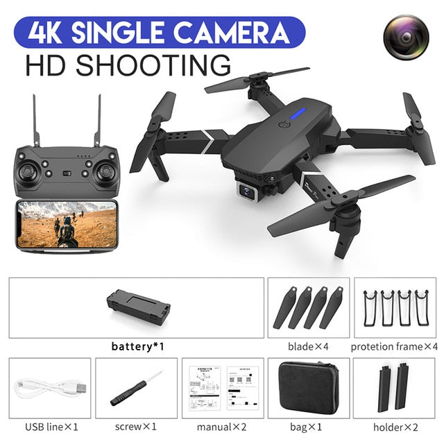 CEVENNESFE 2021 NEW drone 4k 1080P HD wide-angle dual camera WIFI FPV positioning height keep Foldable RC Helicopter Drones Gift