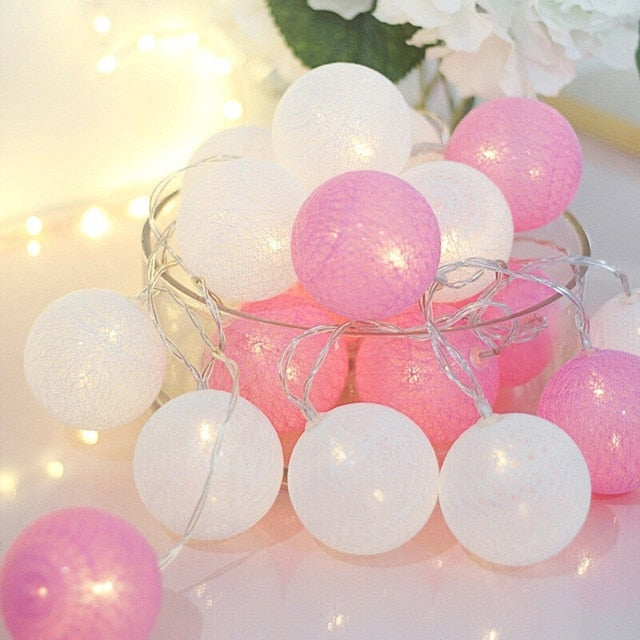 2.2M 20 LED Cotton Ball Garland Lights String Christmas Xmas Outdoor Holiday Wedding Party Baby Bed Fairy Lights Decorations