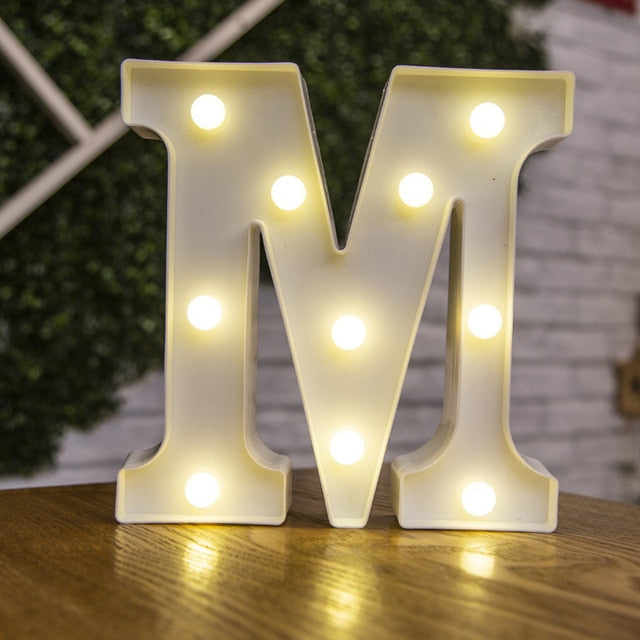 Alphabet Letter LED Lights Luminous Number Lamp Decoration Battery Night Light Party Bedroom Wedding Birthday Christmas Decor