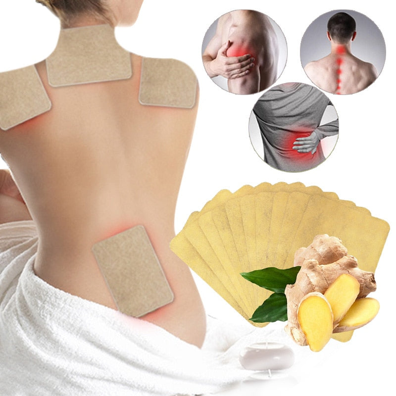 10 pcs/1bag Ginger Back Pain Patch Neck Massage Back Body Warmer Sticker Self Heating 12h Patch Winter Keep Joint Warm Foot Knee