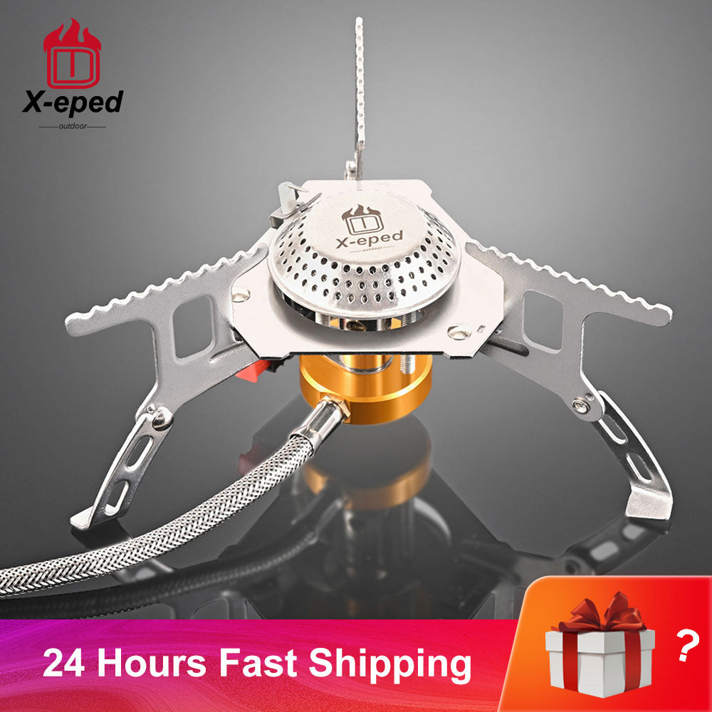 X-eped Camping Gas Stove Portable Folding Outdoor Backpacking  Stove Tourist Equipment For Cooking Hiking Picnic 3500W