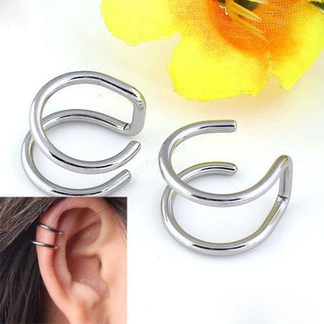 2 Pcs/set Punk Simple Ear Clip Cuff Wrap Earrings For Women Fashion Jewelry Clip-on Earrings Non-piercing Ear Cuff Eardrop