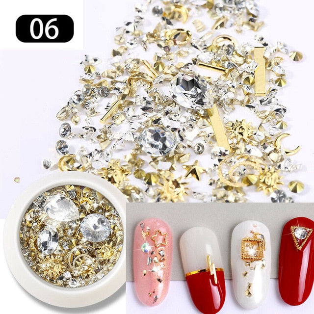 1 Box Crystal Nails Rhinestones Metal Rivet Shiny Gems Stones 3D DIY Tips Charm Nail Art Decorations Design Manicure Diamonds