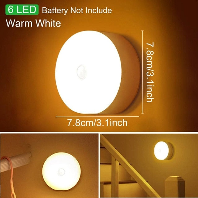 Motion Sensor Wireless LED Night Lights Bedroom Decor Light Detector Wall Decorative Lamp Staircase Closet Room Aisle Lighting