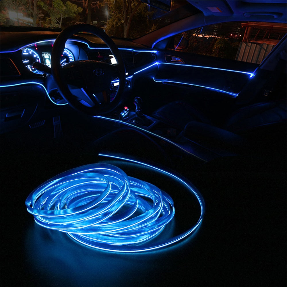 FORAUTO 3M 5M Car Interior Lighting Auto LED Strip EL Wire Rope Auto Atmosphere Decorative Lamp Flexible Neon Light DIY
