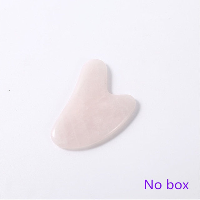Rose Quartz Roller Facial Massager Powder Crystal Roller Jade Roller Scraper Mask Brush Three-piece Beauty Face-lifting Tool