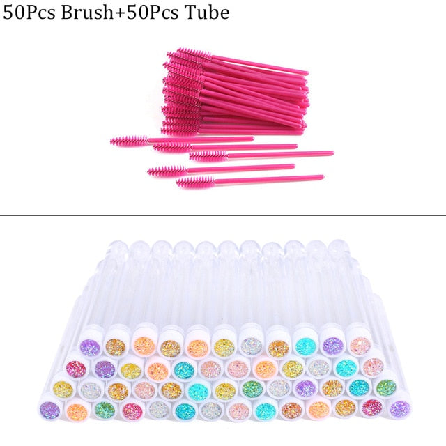 Reusable Eyebrow Brush Tube Disposable Eyelash Brush Eyebrow Brush Replaceable Dust-proof Sparkling Broken Diamond Makeup Brush