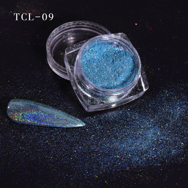 12 color Laser Nail Glitter Holographic Powder Sequins Charms Flake Paillette Sparkly Pigment Dust Nail Art Decoration