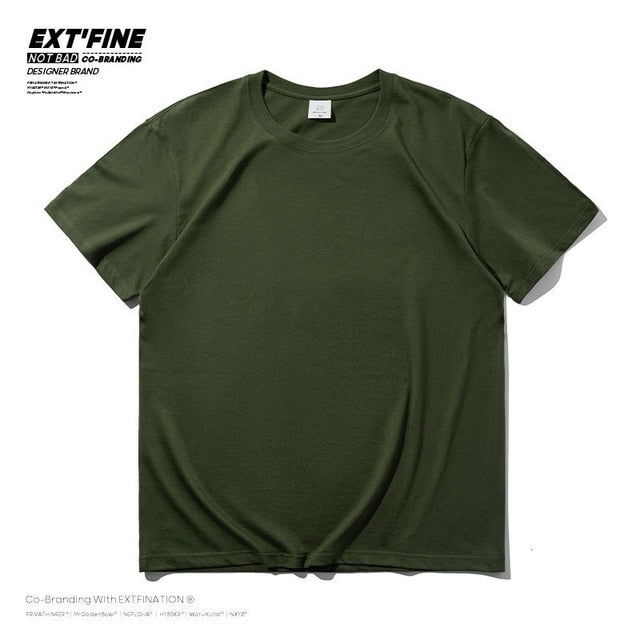 Extfine 100% Combed Cotton Short Sleeve T-shirt Men 2021 Summer Casual Tshirt Women Basic Harajuku Soft T Shirt Tops Tee