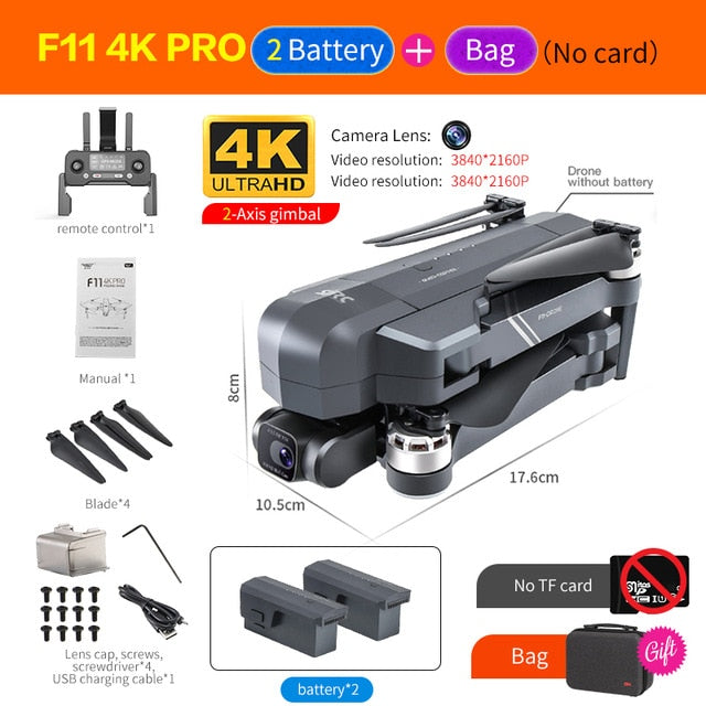 2020 NEW F11 PRO Professional 4K HD Camera Gimbal Dron Brushless Aerial Photography WIFI FPV GPS Foldable RC Quadcopter Drones