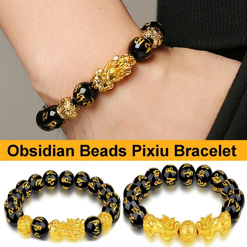 24 Styles Chinese Feng Shui Pi Xiu Obsidian Wristband Gold Wealth and Good Luck Bracelets Stone Beads Bracelet Men Women Unisex