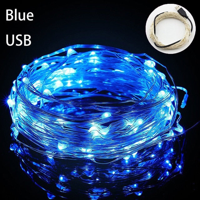 Fairy Light 1M 5M 10M 100 LEDS Starry String USB Lights Fairy Micro LED Transparent Wire for Party Christmas Wedding 6 colors