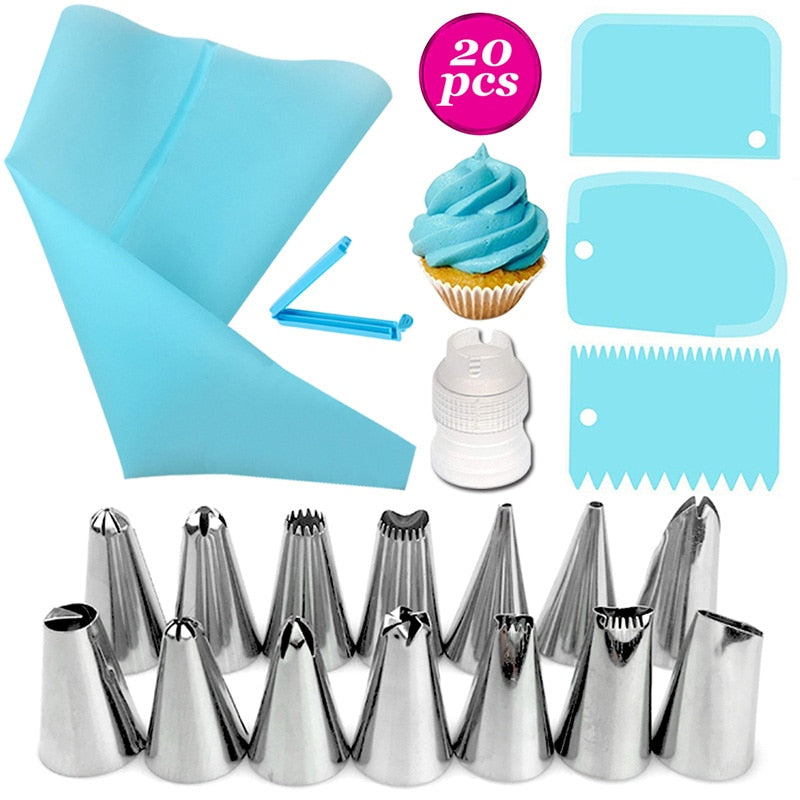 26/20/18Pcs/Set Stainless Steel+Plastic Cakes Decoration Pastry Nozzle Set Multi Purpose With Cream Pastry Bag Kitchen Gadgets