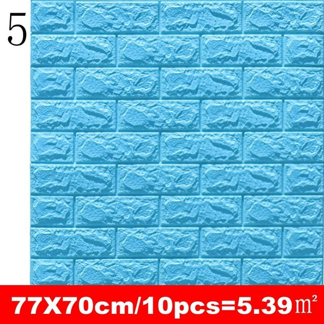 10pcs 3D Wall Sticker Imitation Brick Bedroom Decoration Waterproof Self Adhesive Wallpaper For Living Room Kitchen TV Backdrop
