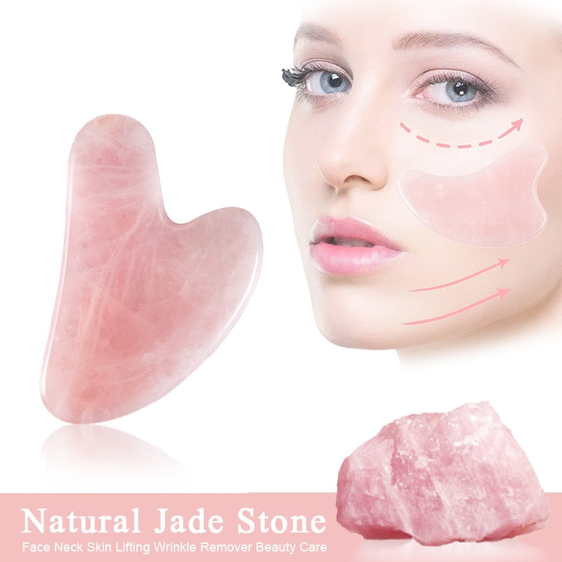 Natural Jade Gua Sha Scraper Board Massage Rose Quartz Jade Guasha Stone For Face Neck Skin Lifting Wrinkle Remover Beauty Care