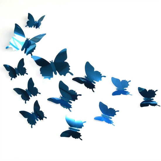 12/24 Pcs 3D Butterfly Mirror Wall Sticker Decal Wall Art Removable Wedding Decoration Kids Room Decoration Sticker Crystal