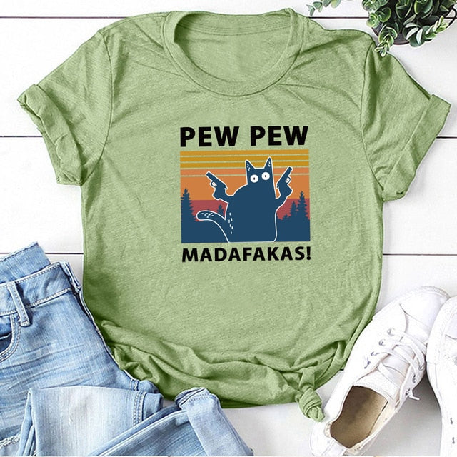 Pew Pew Madafakas Print T-shirts Women Summer 2020 Graphic Tees Funny Shirts For woman tshirts Loose Crew Neck Harajuku Tops