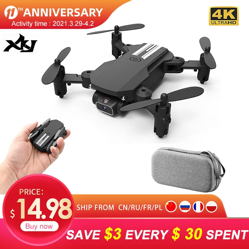 XKJ 2021 New Mini Drone 4K 1080P HD Camera WiFi Fpv Air Pressure Altitude Hold Black And Gray Foldable Quadcopter RC Dron Toy