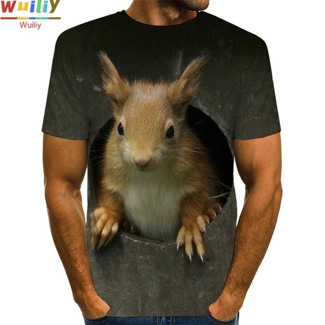 Men's Squirrel T Shirt 3D Print Shirt Animal Graphic Tees Lovely Pattern Tops Men/Women Cute Puppy Face Tee Funny Pet T-shirt