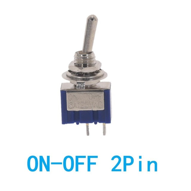 10PC/5PC Miniature Toggle Switch Single Pole Double Throw SPDT DPDT ON-OFF-ON ON-ON 120VAC 6A 1/4 Inch Mounting MTS-102 103 202
