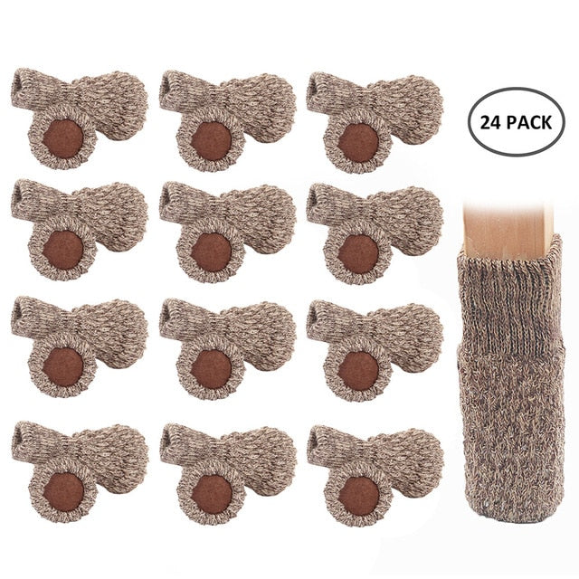 24PCS Knitted Chair Leg Socks Furniture Table Feet Leg Floor Protectors Covers Floor Protection Pads Moving Noise Reduction
