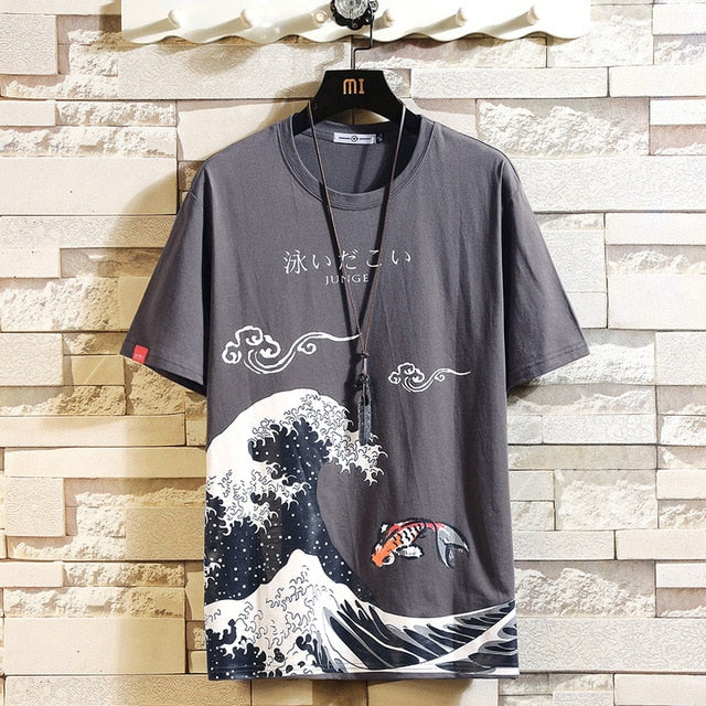 Funny Anime Print Oversized Men T Shirt Hip-Hop Cotton T-shirt O-neck Summer Japanese Male Causal Tshirts 5XL Fashion Loose Tees