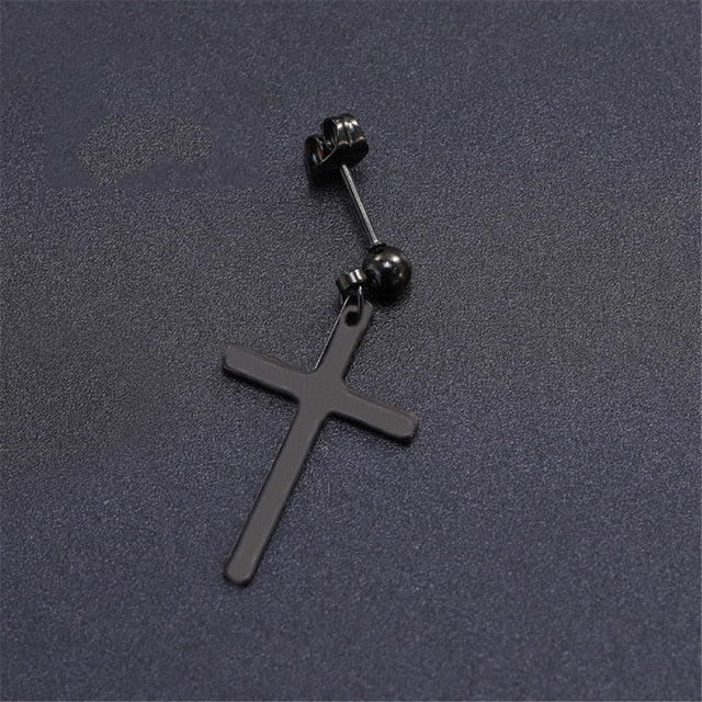SexeMara 1 Piece Punk Gothic Stainless Steel Stud Earring Cross Round Fake Ear Taper Dumbbell Fashion Women Men Rock Jewelry