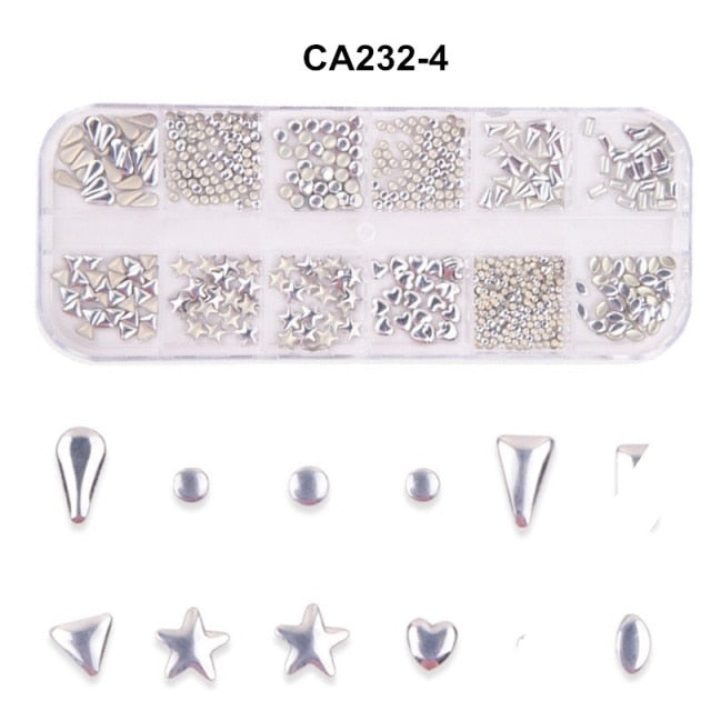 12 Grid Mixed Style Nail Art Moon Star Gold Metal Rivet Studs 3D DIY Charm Decoration Accessories Jewelry Glitter Manicure Stone