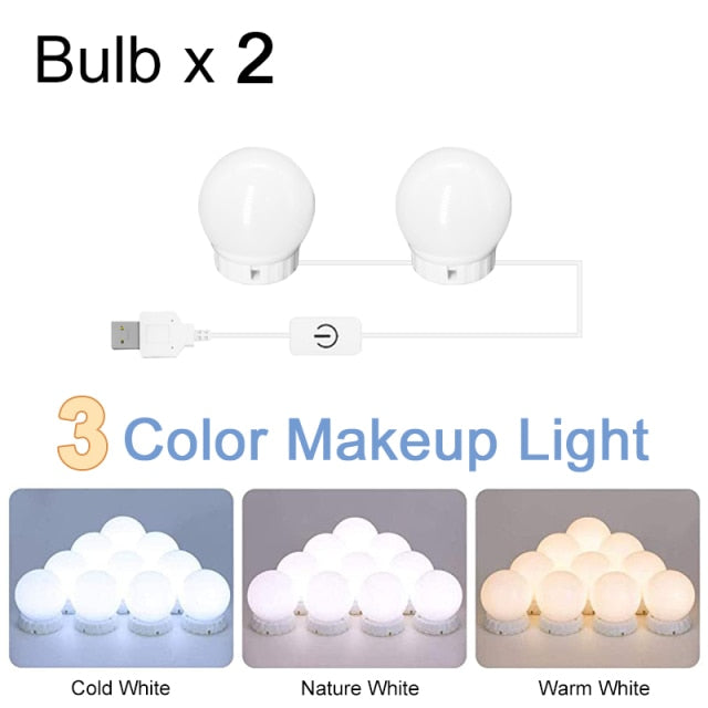 LED Professional Makeup Mirror Light Full Backlit Mirror USB Dimmle Table Mirror with Light 3 Colors Hollywood Vanity Lights