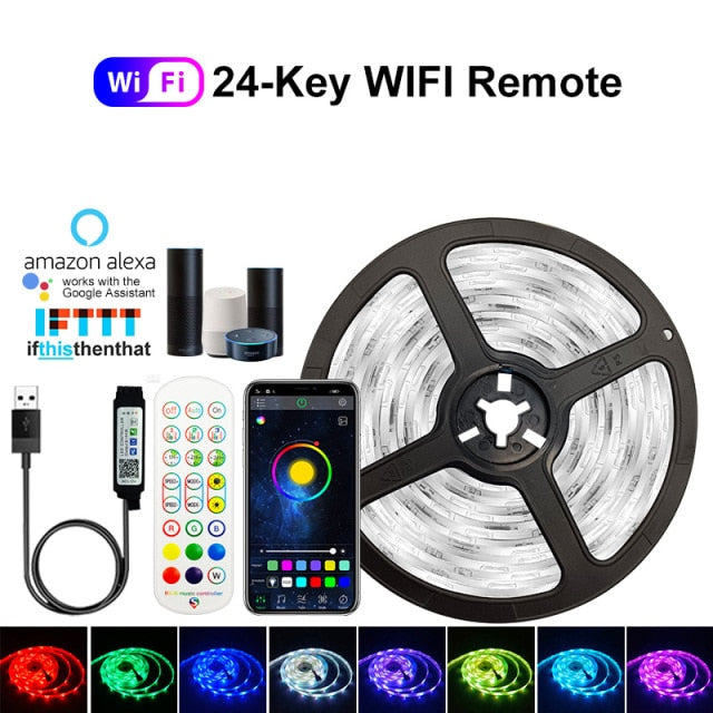 5V USB WIFI Bluetooth 1M-30M 5050 USB Led Strips Light Waterproof RGB Led Diode Ribbon Lamp For Decoration Bedroom TV BackLight