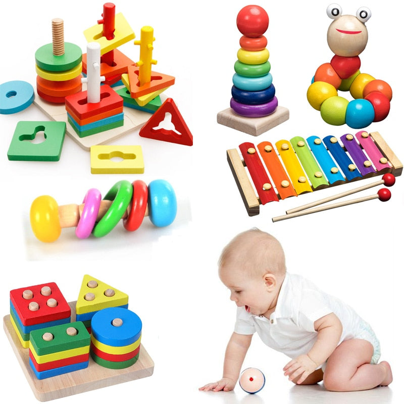 ASWJ Kids Montessori Wooden Toys Rainbow Block Kid Learning Toy Baby Music Rattles Graphic Colorful Wooden Block Educational Toy