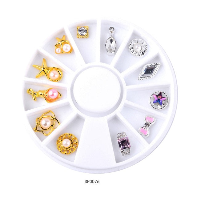 1 Wheel 3D Charm Alloy Rhinestones Nail Art Decorations Perfume Bottle Bow Flowers Triangle DIY Nail Jewelry Supplies