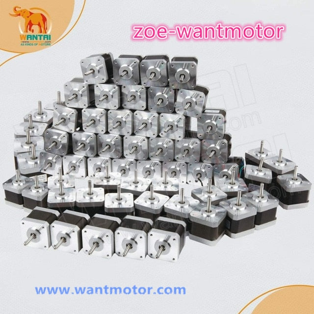Ship from USA and  free!60pcs Nema 17 wantai stepper motor 42BYGHW811 0.48N.m  2.5A for 3D printer and Engraving Machine