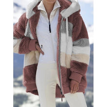Load image into Gallery viewer, Winter women jacket fashion Plush patchwork zipper pocket winter Hooded jacket retro loose Long Sleeve Plus Size Women Top Coat