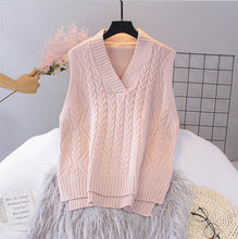 Load image into Gallery viewer, 2020 Knitted Vest Woman Simple All-match  V-neck Knitted Sweater Leisure Student Sleeveless Female Vintage Sweater Waistcoat
