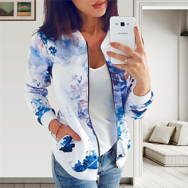 Women Jackets Retro Floral Printed Ladies Zipper Up Bomber Outwear Autumn Long sleeve Short Thin Slim Casual Pocket Biker coats