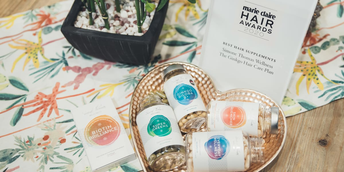 Simone Thomas' Hair Care Plans in the Marie Claire Hair Awards and the Beauty Shortlist Wellbeing Awards for best hair supplements