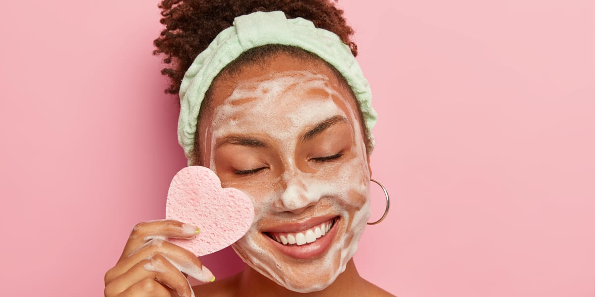 Lady caring for her skin on valentines day