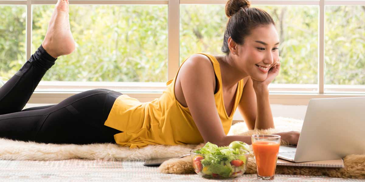 Lady eating well for better mental wellness