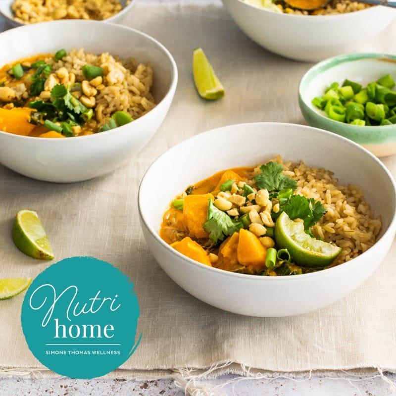 Simone Thomas Wellness Butternut Squash Curry Served With Brown Rice Nutrihome Recipe