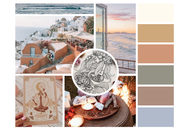 moodboard with colour pallet for earth mama healing