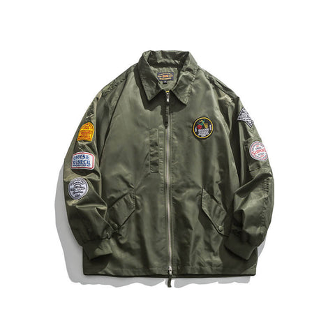 Men's Bomber Jacket Japanese-style Solid-color