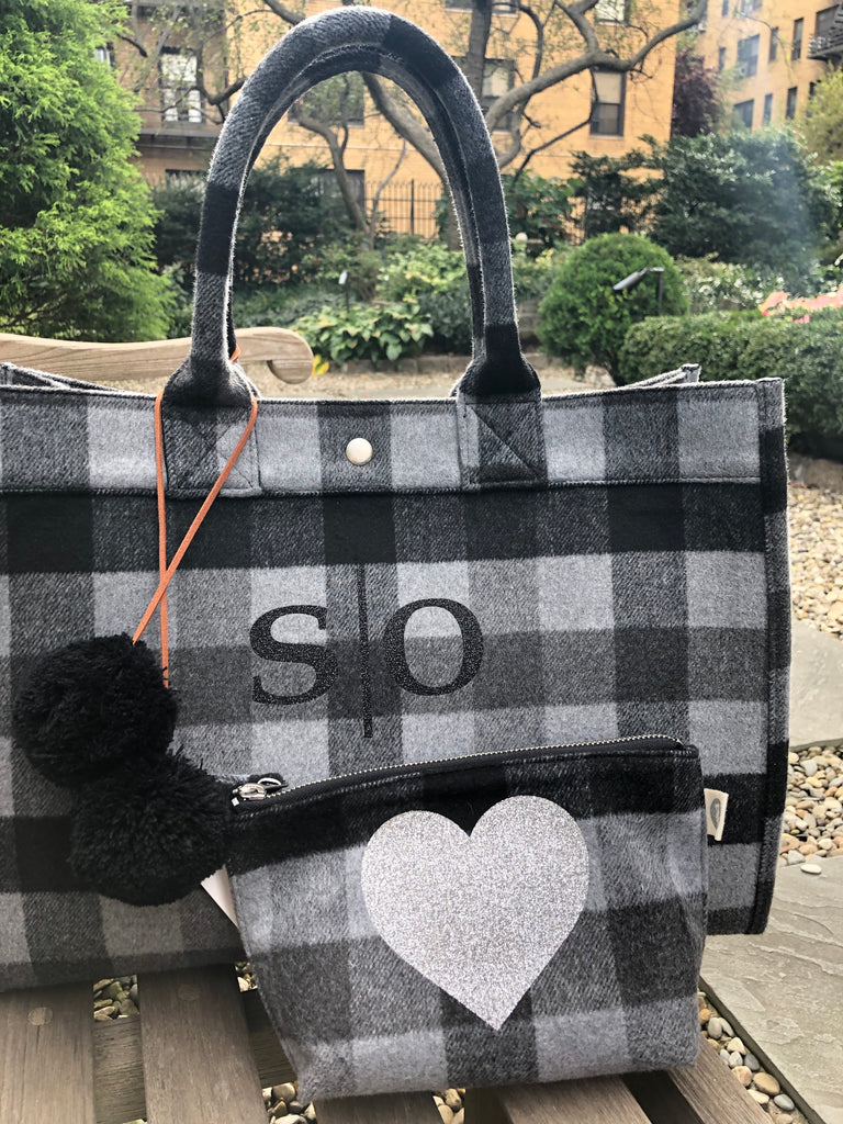 PLAID Split Letter Monogram East West Bag