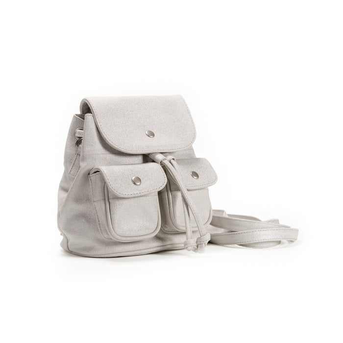 Mini Backpack: White Metallic   Just $24 with code SUPER